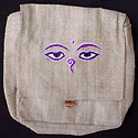 Hemp purse hemp handbag with the Tibetan Buddhism symbol, eyes of Buddha