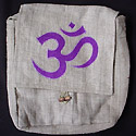 Hemp handbag purses from Nepal, embroidered with the Tibetan Buddhist sacred Om