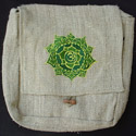 Hemp Handbag hemp purse embroidered with the Tibetan Buddhist symbol Om Mandala
