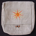 Hemp bag hemp purse from Nepal - bright sun embroidery