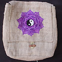Hemp Handbag hemp purse embroidered with  Yin Yang Mandala