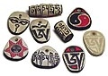 Handcarved stone pendants with OM Mani Padme Hum, OM, sun,Yin-yang, the compassionate eyes of lord Buddha